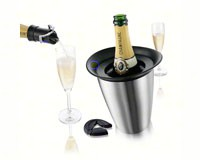 3 Piece Champagne Set (Active Champagne Cooler in Stainless Steel, Bottle Opener, Champagne Saver)-VACUVIN3889460