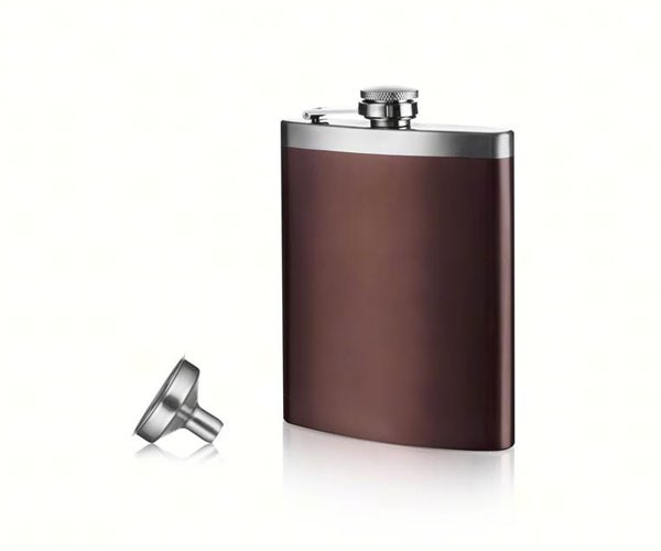 Hip Flask & Funnel - Stainless Steel - Gift Box of 1