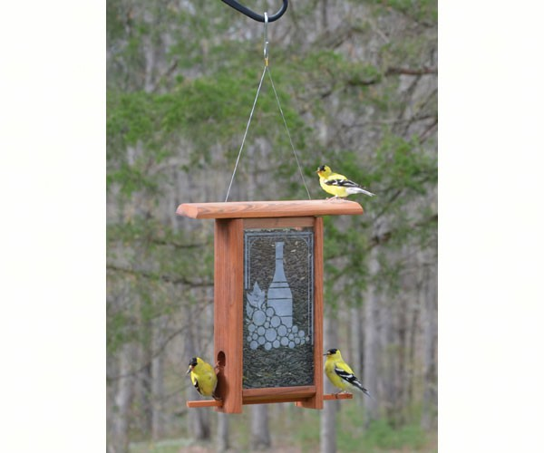 Wine Bottle Etched Glass bird feeder WE201'