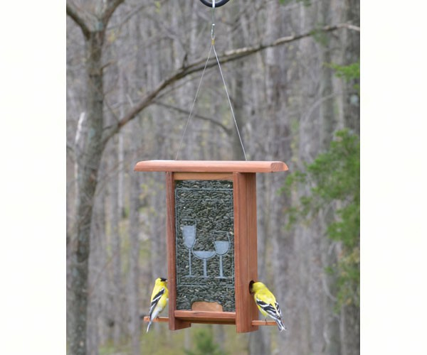 Wine Glass Etched Glass bird feeder WE203