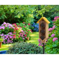 4 Tier Diamond Yard Stake Mason Bee House-WL28563
