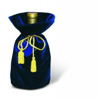 Blue Panne Velvet Wine Bottle Gift Bag 13014