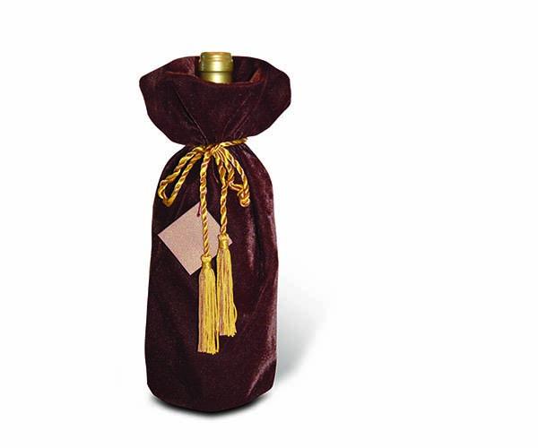 Chocolate Panne Velvet Wine Bottle Gift Bag