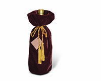Panne Velvet Wine Bottle Bag - Chocolate with Drawstring-13051