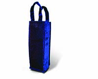 Panne Velvet Wine Bottle Tote - Blue-13107