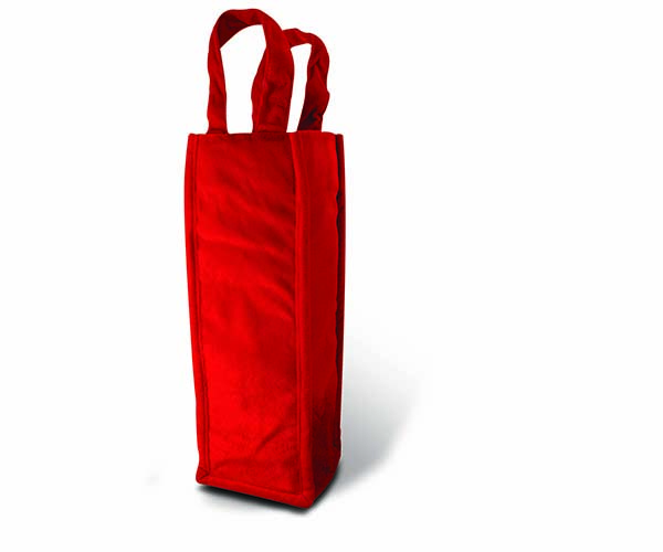 Red Panne Velvet Tote Wine Bottle Gift Bag