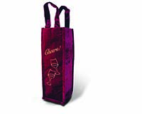 Burgundy Panne Tote -Cheers Wine Bottle Gift Bag-13333