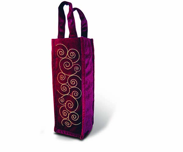 Burgundy Panne Tote - Swirls Wine Bottle Gift Bag