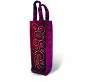 Panne Velvet Wine Bottle Tote - Burgundy Swirls-13334