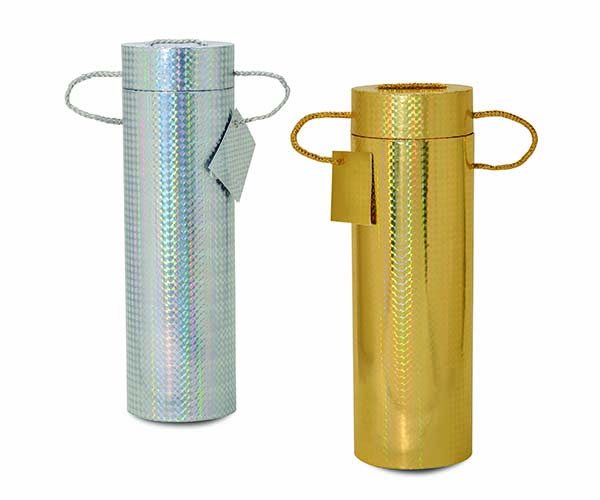 Silver and Gold Foil Wine Tubes Set of 2