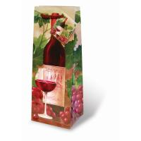 Printed Paper Wine Bottle Bag  - Red Wine and Grapes-17083