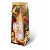Printed Paper Wine Bottle Bag  - White Wine and Grapes-17084