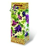Printed Paper Wine Bottle Bag  - Countiful Grapes-17085