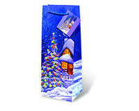 Printed Paper Wine Bottle Bag  - Snowy Christmas-17091