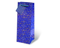 Printed Paper Wine Bottle Bag  - Blue Mystique-17094