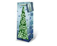 Printed Paper Wine Bottle Bag  - Glitter Snow Flakes-17105
