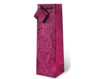 Floral Burgundy Embossed Wine Bottle Gift Bag 17117