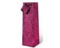Floral Burgundy Embossed Wine Bottle Gift Bag 17117