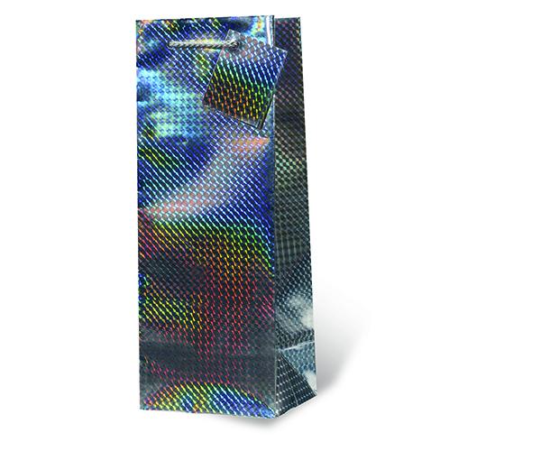 Silver Foil Wine Bottle Gift Bag