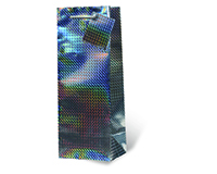 Foil Paper Wine Bottle Bag  - Silver-17120