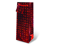 Foil Paper Wine Bottle Bag  - Red Hearts-17143