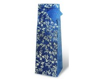 Silver and Blue Floral Wine Bottle Gift Bag-17150