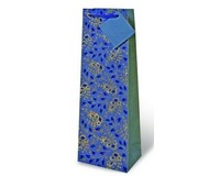 Blue and Gold Paisley Floral Wine Bottle Gift Bag 17166