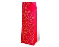 Printed Paper Wine Bottle Bag  - Holiday Swirl-17169