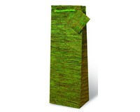 Handmade Paper Wine Bottle Bag  - Textured Green-17174
