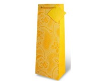 Handmade Paper Wine Bottle Bag  - Yellow Dotted-17180