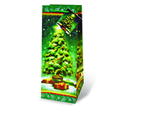 Printed Paper Wine Bottle Bag  - Christmas Tree-17193