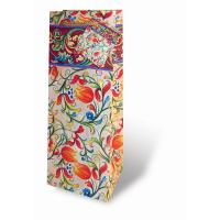 Printed Paper Wine Bottle Bag  - Peach Floral-17195