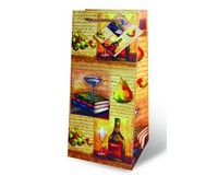 Printed Paper Wine Bottle Bag  - Old World-17196