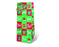 Printed Paper Wine Bottle Bag  - Holiday Cheer-17197