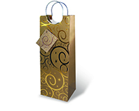 Printed Paper Wine Bottle Bag  - Gold Swirls-17202