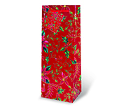 Red Holly & Poinsettia Wine Bottle Gift Bag 17287