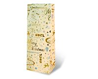 Printed Paper Wine Bottle Bag  - Gold Holiday-17291