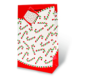 Candy Canes Two Bottle Wine Gift Bag-17311