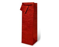 Handmade Paper Wine Bottle Bag  - Red Textured-17326