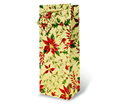 White Holly & Poinsettia Wine Bottle Gift Bag-17340