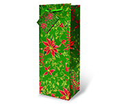 Green Holly & Poinsettia Wine Bottle Gift Bag 17341
