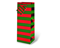 Red/Green Foil Stripe Wine Bottle Gift Bag-17348
