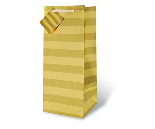 Gold Foil Stripe Wine Bottle Gift Bag 17352