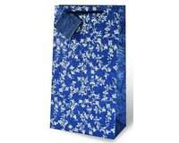 Silver and Blue Floral Two Bottle Wine Gift Bag-17438
