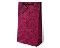 Burgundy Floral Embossed Two Bottle Wine Gift Bag-17442