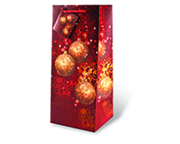 Printed Paper Wine Bottle Bag  - Festive Holidays Red-17464