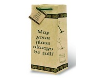 Printed Paper Wine Bottle Bag  - May Your Glas Be Full-17502