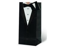 Printed Paper Wine Bottle Bag  - Tuxedo-17511