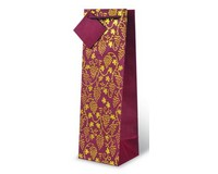 Gold and Burgandy Grape Floral Wine Bottle Gift Bag-17515