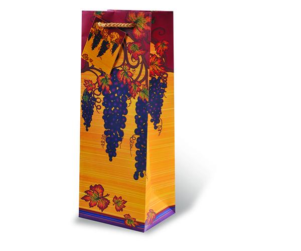 Printed Paper Wine Bottle Bag  - Autumn Vines